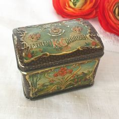 Antique Russian Imperial Tea tin Litho Box Art Nouveau Black Floral Vintage advertising shabby chic Moscow Russia canister can vanity by WonderCabinetArts