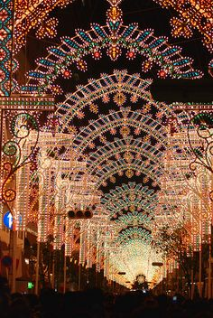 Kobe Luminarie (神戸ルミナリエ?) is a light festival held in Kobe, Japan, every December since 1995 to commemorate the Great Hanshin earthquake of that year.  The lights were donated by the Italian Government and the installation itself is produced by Valerio Festi and Hirokazu Imaoka. by gwaar