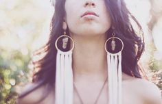 Big Brass Hoop Earrings with Quartz Crystal and Tribal White Leather Fringe. Elegant, Native, Steampunk, Festival, Cosmic. Handcrafted