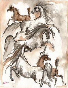 Arabian Horses Ink Painting 2014 04 12 Painting by Angel Tarantella #ArabianHorseAssociation  #ArabiansInTheArts