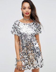 Motel Holidays Mausi Disc Sequin Backless T-Shirt Dress