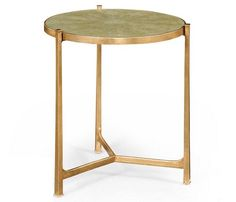 """26"""" Tall Art Deco Iron & Shagreen Table *  Distressed Gold Gilt * Partner Side Tables, Coffee Tables, Console Tables Available  * Hospitality / Residential Interior Designer Discounts Available"""