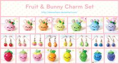 Fruit And Bunny Charm Set by Oborochann.deviantart.com on @deviantART
