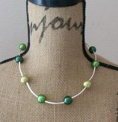 Green Pearl Necklace  Spring Bling by BeadoRama123 on Etsy, £12.00