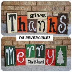 Give Thanks & Merry Christmas Reversible Wooden Art Display/ Decoration Christmas Wood Crafts, Merry Christmas, Thanksgiving Crafts, Christmas Signs, Christmas Projects, Christmas Crafts, Christmas 2016, Christmas Ideas, Crafts To Do
