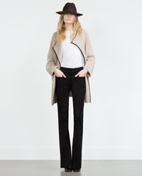 COAT WITH FAUX LEATHER PIPING