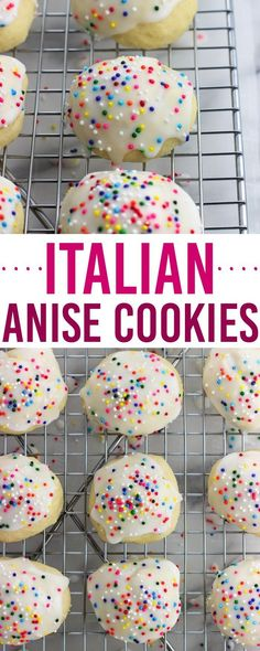 These classic Italian anise cookies are tender, easy, and covered in a glaze wit. These classic Italian anise cookies are tender, easy, and covered in a glaze with sprinkles. Enjoy these cookies as part of a holiday cookie tray or year-round! Drop Cookies, Yummy Cookies, Holiday Cookies, Sugar Cookies, Cookies Et Biscuits, Owl Cookies, Cherry Cookies, Almond Cookies, Pumpkin Cookies