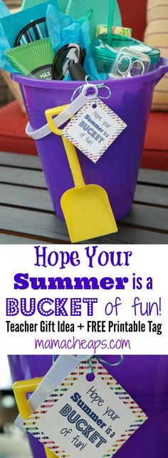 """DIY Beach Bucket Teacher Gift with FREE Printable Tag - """"Hope your Summer is a BUCKET of fun!"""""""