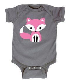 Look what I found on #zulily! Charcoal & Pink Cute Fox Bodysuit - Infant by It's Just Me #zulilyfinds