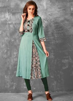 Make the heads flip the moment you dress up in this sort of a attractive sea green rayon party wear kurti. The enticing print work a vital attribute of this attire. Silk Kurti Designs, Salwar Designs, Dress Designs, African Fashion Dresses, Fashion Outfits, Indian Fashion, Women's Fashion, Indian Designer Suits, Designer Wear