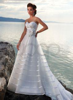 Organza And Satin Strapless Sweetheart Neckline Ball Gown Wedding Dress - Bupop.com