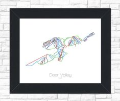 Deer Valley Utah UT Ski Snowboard Trail Map Art by ModernMaps