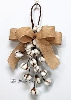"22"" Cotton Boll Swag, Natural Cotton Bolls, Cotton Boll Stems, 2nd Wedding Anniversary, Front Door Decor, Cotton Branches, Farmhouse Decor"