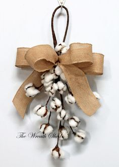 "22"" Cotton Boll Swag, Natural Cotton Bolls, Cotton Boll Stems, 2nd Wedding Anniversary, Front Door Decor, Cotton Branches, Farmhouse Decor"