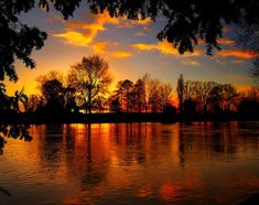 Gorgeous Scene - Clouds, Lake, Orange, Red, Gold, Beautiful Reflection & Shadows, Rippling Water...