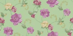 Holbrooke (97180) - Holden Decor Wallpapers - A flamboyant floral trail in heather purple, pink and cream on shades of soft teal green, with gold metallic highlights.  Please request sample for true colour match. Paste the wall.