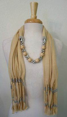 Beige Jewelry Scarf Necklace w Beige Beads Silver Charms Scarf Necklace, Fabric Necklace, Scarf Jewelry, Textile Jewelry, Fabric Jewelry, Collar Necklace, Beaded Jewelry, Beaded Necklace, Necklaces