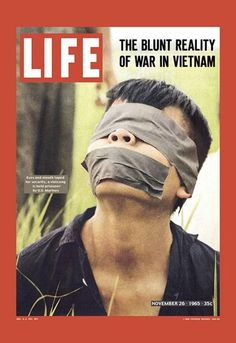 LIFE (26 Nov, 1965) Photo Vietcong prisoner with taped eyes and mouth. A few minutes after taking the picture, the prisoner would be shot in the temple, by an American soldier - and this will become the most famous war crime, the Vietnam War, and will receive a name - murder in Saigon. The author photo - one of the best photographers of LIFE -Paul Schutze, perished during the Six Day War in the Middle East in 1967.