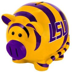 Forever Collectibles Large Thematic Piggy Bank - Lsu LSU Tigers Fbpigclsul, Multicolor