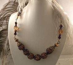 Copper and Bronze Wire Wrapped Glitter Beads Necklace by talpal2