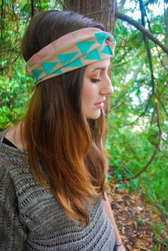 Hand stamped triangle turban ADULT by kenziejaws on Etsy, $15.00
