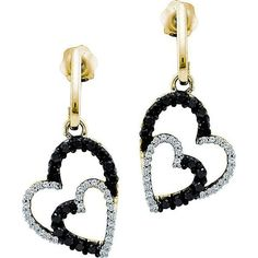 0.50ctw Black Diamond Heart Earrings 10K Yellow Gold ($410) ❤ liked on Polyvore featuring jewelry, yellow gold jewelry, black diamond jewelry, heart jewellery, gold jewellery and heart jewelry