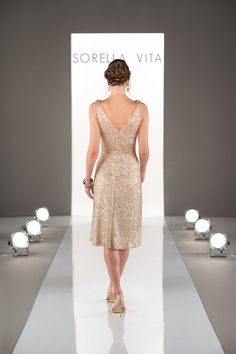"""Incredible detail with a classic v-neck and a slimming cinched waist. Gotta love Sorella Vita""""s bridesmaid dress design!"""