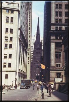 Jun. 6, 1941 - Wall St. - toward Trinity Church