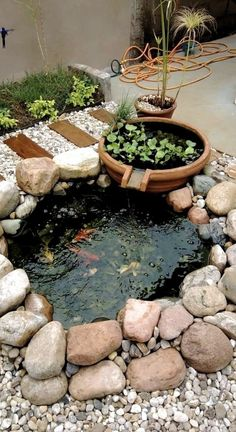 Small Backyard Ponds, Ponds For Small Gardens, Fish Pond Gardens, Outdoor Ponds, Backyard Water Feature, Small Backyard Design, Small Ponds, Small Backyard Landscaping, Backyard Ideas