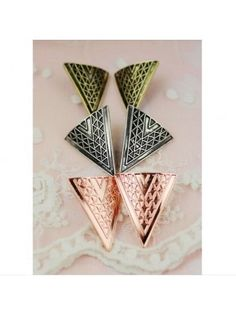 Ancient Geo Triangle Earrings
