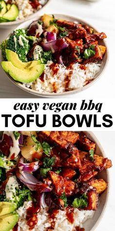 4 reviews · 40 minutes · Serves 4 · These vegan BBQ tofu bowls are made with just 6 simple everyday ingredients. You'll need tofu, BBQ sauce, brown rice, broccoli, pineapple and red onion. This recipe is healthy, easy to make, works… Tofu Recipes, Vegetarian Recipes, Vegan Recipes Easy, Real Food Recipes, Meal Recipes, Bbq Tofu, Vegan Barbecue, Vegan Dinners, Lunches And Dinners