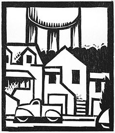 Lockwood Dennis. City 21, 1999. Woodcut. Edition of 20. 4-5/8 x 4 inches.