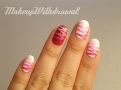 Gradient ribbons! So fun and graphic #nails #stripes #zigzag #pink #red #white #ombre