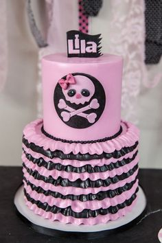 punk black and pink pirate birthday cake