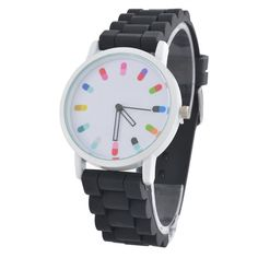 Souarts Womens Silicon Round Pill Analog Quartz Wrist Watch Black * Learn more by visiting the image link.