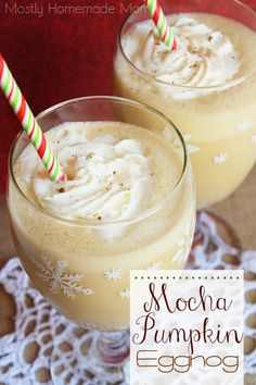 Mocha Pumpkin Eggnog - Coffee, eggnog, and pumpkin spice topped with whipped cream and dusted with nutmeg - the perfect drink to enjoy with the family around the Thanksgiving table! #Feast4all #CollectiveBias #ad