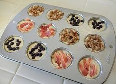 Pancake bites. Use your favorite mix, pour into muffin tins, add fruit, nuts, sausage, bacon... bake 350 for 12-14 min. I love pancakes so I'm totally doing this