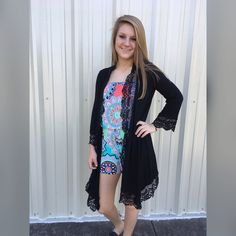 Lovely in Lace Cardigan: Black