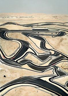 Aerial photograph from Andreas Gursky of a Formula 1 racetrack in Bahrain