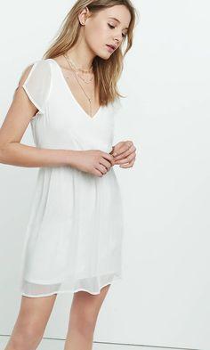 Deep V-neck Crinkle Chiffon Dress | Express
