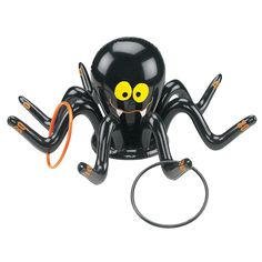 This creepy cobweb crawler will add some frightful fun to a kid's haunted house party !Inflatable Spider Ring Toss Game is also ideal for a Halloween school carnival, this 2 ft. inflatable vinyl spider comes with four 6 orange and black plastic rings. Halloween Carnival Games, Halloween Class Party, Halloween School Treats, Halloween Wishes, Fairy Halloween Costumes, Halloween Games For Kids, Halloween Toys, Halloween Birthday, Halloween Ideas