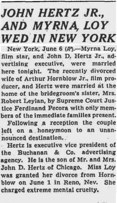 Myrna Loy marries John D. Hertz, Jr., June 6, 1942 - Chicago Tribune.
