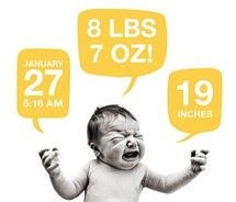 funny birth announcement card with screaming baby and stats!