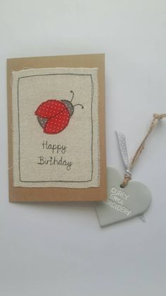 Happy Birthday fabric Greeting card with ladybug, ladybird applique free motion embroidery, textile art, FREE UK POSTAGE, by CurlyEmmaEmbroidery on Etsy Fabric Postcards, Fabric Cards, Paper Cards, Happy Birthday Greeting Card, Handmade Birthday Cards, Greeting Cards Handmade, Embroidery Cards, Free Motion Embroidery, Freehand Machine Embroidery