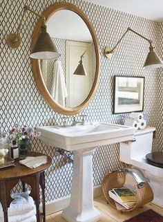 {Rita Konig} Brass lamps, pedestal sink, wallpaper bathroom: FOR POWDER ROOM! elegant home office design Comfortable Home Office Design Idea. Decor, Contemporary Bathroom, Interior, Pedestal Sink, Small Bathroom Decor, Bathroom Decor, Beautiful Bathrooms, Modern Style Decor, Bathroom Inspiration
