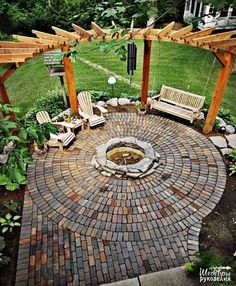 Would you like to have a beautiful pergola built in your backyard? You may have a lot of extra space available for something like this, but you'll need to focus on checking out different pergola plans before you have anything installed. Backyard Pergola, Backyard Landscaping, Curved Pergola, Backyard Seating, Cozy Backyard, Fire Pit Pergola, Fire Pit Swings, Backyard Fire Pits, Pergola Swing