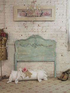 Painted Cottage Chic Shabby Aqua Romantic by paintedcottages, $165.00