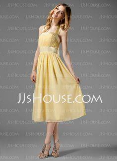 Vestidos de madrinha - Vestidos princesa/ Formato A Frente única Comprimento de chá Chifon Charmeuse Vestido de madrinha com Pregueado