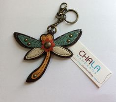 Chala Handbags Dragonfly Colorful Key Chain Charm FOB Ring Leather New $13.75