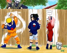 Naruto - Team 7, D rank missions --- I can't help thinking of Tom Sawyer and The Karate Kid when I see this.
